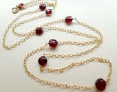 Red gemstone necklace, red and gold necklace, garnet goldfilled chain necklace, red garnet coin long necklace, layering necklace, handmade