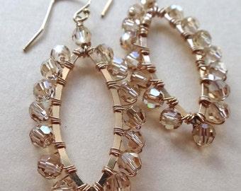 Swarovski gold crystal earrings, Swarovski crystal wire wrapped hoops, golden shadow hoop earrings, golden shadow marquise earrings handmade
