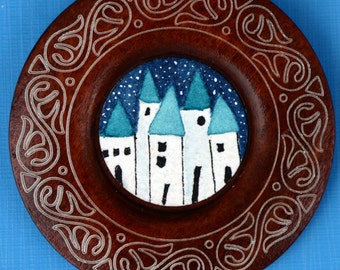 Little houses in the snow, watercolor, round art, art in wood button, frame, blue and white, greek, snow, winter, small art, blue roof