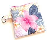Zipper pouch, coin purse, key chain, coin pouch, change purse, bridesmaids gift, graduation gift card holder, teacher gift, pink floral