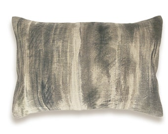 Taupe Beige Charcoal Khaki Black Lumbar Pillow Cover 12x18 inch Natural Linen One Of A Kind