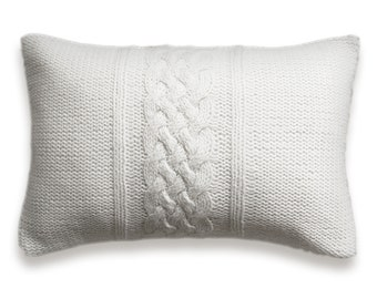 Decorative Cable Knit Pillow Cover In Pure White 12x18 inch Lumbar Cushion Wool Cotton