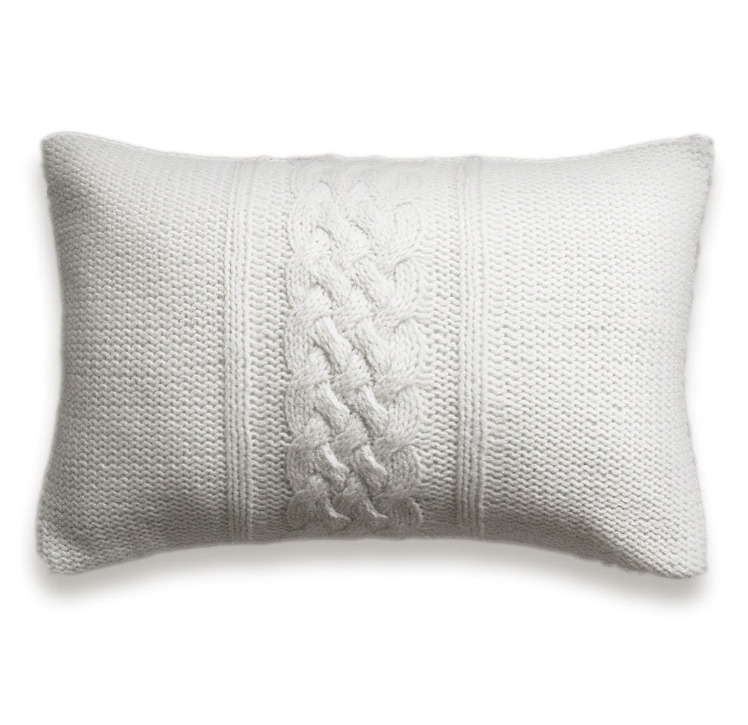 Decorative Cable Knit Pillow Cover In Pure White 12x18 inch