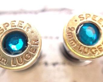 Bullet gauges, 9mm Brass Bullet ear Plugs Earrings Bullet ear gauges w Surgical Stainless Steel Tunnel