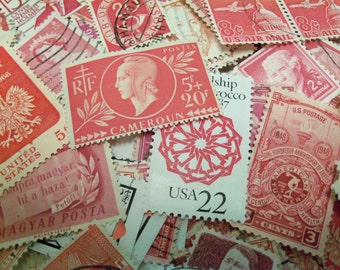 45 Red Postage Stamps, Pink Stamps, Used Postage Stamps, Vintage Stamps, Craft Stamps