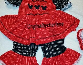 Boutique OOAK Custom Made  Mouse Faux Smocking Dress Set