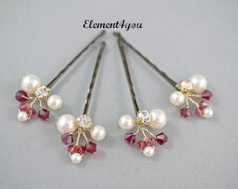 Bridesmaids hair clips Bridal Hair Pins Pink crystals Wedding Hair Accessories Swarovski pearls Wedding Hair do Set of 4 clips Bride up do