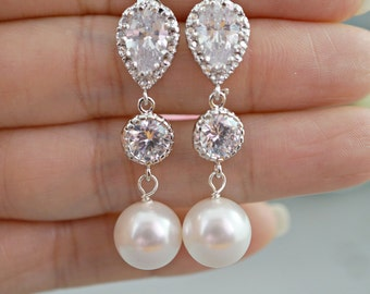 Pearl Wedding Earrings Crystal Pearl Bridal Earrings White Round Swarovski Pearl Earrings