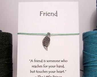 Leaf Friend Wish Charm Bracelet