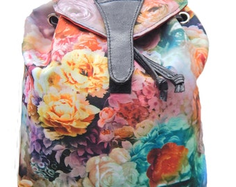 """US Handmade Backpack With """"Mix Rosses Flowers"""" Pattern , COTTON , new"""