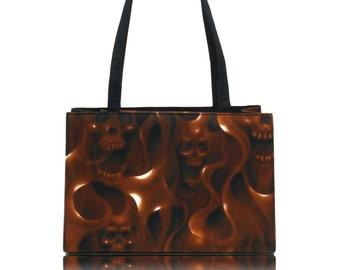 "USA Handmade Bag Shoulder Bag With ""SKULLS On Fire"" Halloween Pattern Handbag With Top Snap Closure, Brown, COTTON, New"