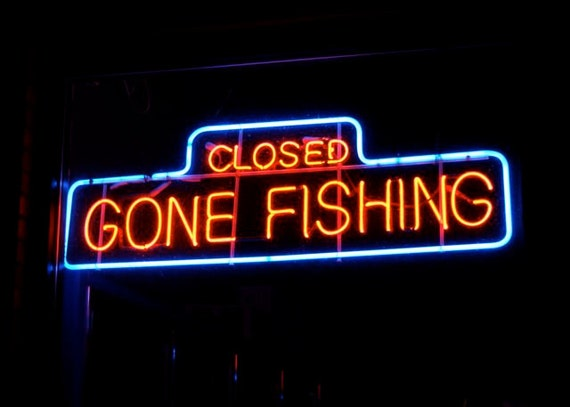Gone fishing neon sign art photo late night closed shop modern for Fish neon sign