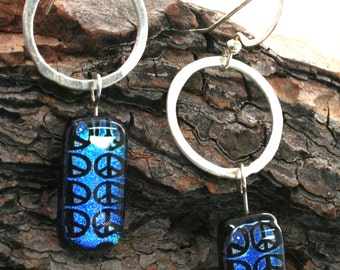 Blue Peace Sign Dichroic Glass and Sterling Silver Earrings, Fused Glass Earrings, Peace Earrings, Blue Art Glass earrings, Peace Jewelry