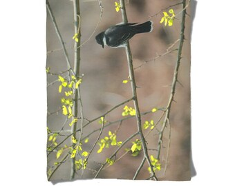 Fleece Blanket -  Bird in Tree - Black Yellow - Tree Branches - Decorative Nature Fleece Blanket - Baby Blanket - Medium Large Blanket