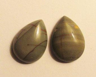 Gray-green genuine Picasso Jasper cabochon cab pair