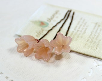 Peach flower hair pins, bridesmaids hair clips, set of 3