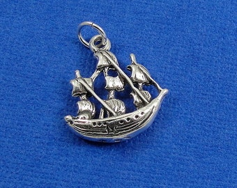 Pirate Ship Charm - Sterling Silver Pirate Ship Charm for Necklace or Bracelet