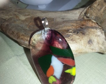 Handmade fused glass multicolor large oversized statement pendant set on silver plated bail.