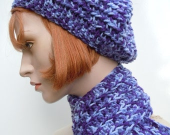 Purple Hat and Scarf Set, Slouch Hat and Scarf. Womens Hat and Scarf Set, Crochet Hat and Scarf