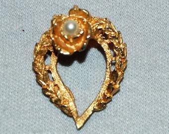 Vintage / Brooch / Pearl / Heart / old / jewelry / jewellery