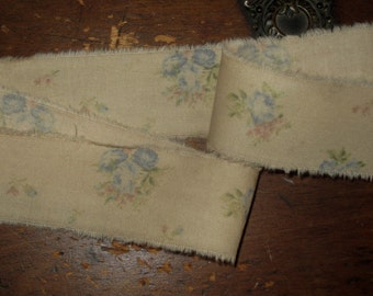 """Tattered Tea Stained Fabric Ribbon  Dainty Blue and Pink Tossed Roses So very vintage 1-1/4"""""""