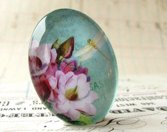 Aqua pink flower with white dragonfly, handmade glass oval cabochon, 40x30mm 30x40mm 40x30 40mm 30mm 40 30 mm, floral cab