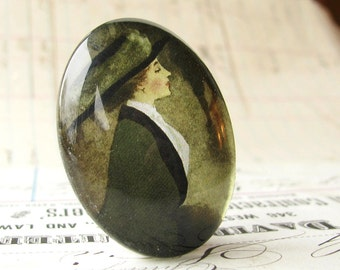 Well dressed woman with a hat, handmade 40x30 40x30mm 30x40mm 40 30 mm glass oval cabochon, olive green, black, Edwardian fashion