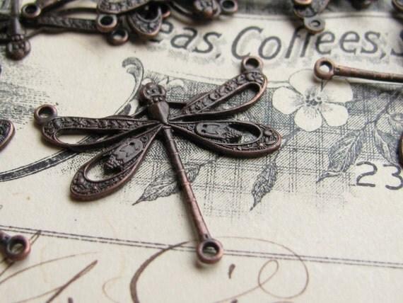 Art Nouveau dragonfly link, 25mm, 3 loops, black antiqued brass (2 black dragonfly connectors) flat dragonfly necklace link, Belle Époque