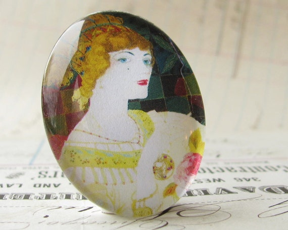 Art Nouveau Woman with Blonde Hair, handmade 40x30 40x30mm 30x40mm 40 30 mm glass oval cabochon, orange, yellow, vintage fashion