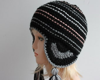 Ear flap hat, knitted hat, hand knitted beanie, ear flap beanie, hand knit hat, chunky hat with tassels, aviator hat, tassel hat