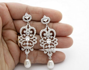 Bridal Chandelier Earrings Vintage Style Chandelier Wedding Earrings Pearl Cubic Zirconia Bridal Jewelry Long Pearl Drop Earrings, Victoria