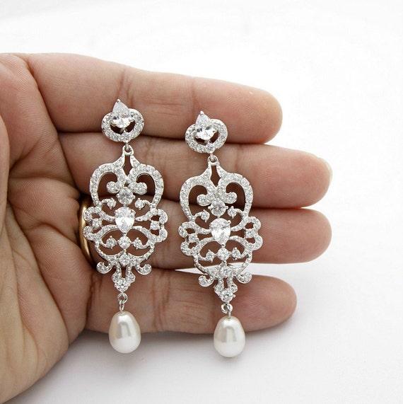 Brautschmuck ohrringe tropfen  Braut Ohrringe Vintage-Stil Kristall Hochzeit Ohrringe