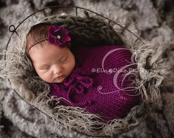 Hand Knit Newborn Swaddle Sack, Baby Snuggle Sack Photography Prop