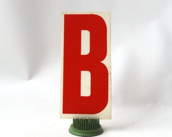 """vintage 1970's industrial marquee sign letter B type acrylic plastic red on white aged 6.5"""" tall decorative home decor church typography old"""