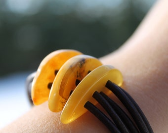 Leather Amber Bracelet Organic Jewelry  Milky Earthy Color Brown Yellow Summer Fashion Multi Strand
