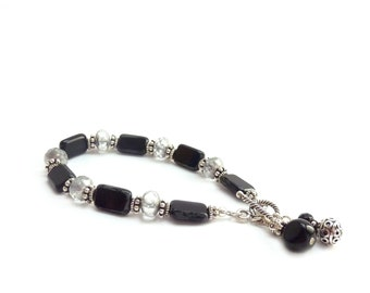 Black Beaded Bracelet - Black Gray Silver - Picasso Rectangle Glass - Charm Bracelet - Bohemian Layering Bracelet