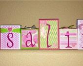 Custom Order for Annette - ROSALINA's pinks/green/ballet/floral BLOCKS