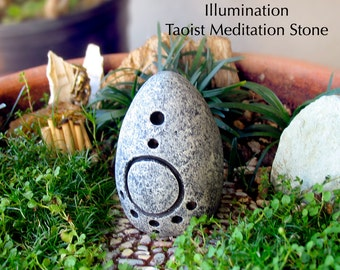 Illumination - Handcrafted Taoist Meditation Altar Stone - Handpainted Clay Altar Piece - Planter and Terrarium Decor - Zen Garden