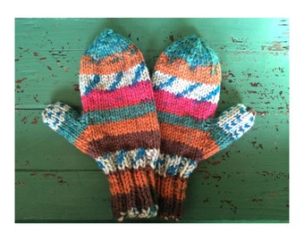 Children's Mittens, Multicolor Soft, Machine Washable Dryable, Hand-Knit in Folksy Pattern