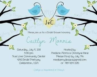 Love Birds Bridal Shower Invitation Blue Bird Bridal Shower Invite Bird Invitation Love Bird Shower Invitation Lovebird Bridal Shower Invite