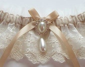 Lace Garter and Satin Band Toss, Wedding Garter in Ivory Lace on Champagne Band with Pearl and Crystal Detail - The MEREDITH Garter