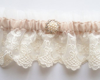 Rose Gold Garter AND TOSS, Wedding Garter in Ivory Lace on Champagne Band with Pearl, Crystal n Rose Gold Tone Center - The MEREDITH Garter