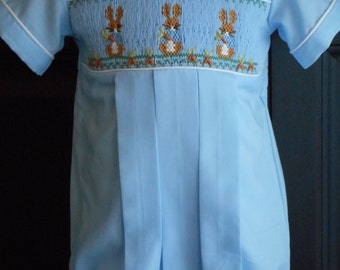 Beatrix Potter Hand Smocked Boy's Pleated Bubble for  special occasions.