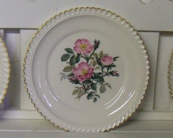 Cake Serving Plates Cake Plates Roses Motif on White Gold Trim 22 Kt Gold Harker  Pottery
