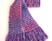 Pink Purple Scarf, Long Chunky Knit Scarf, Winter Scarf, Hand Knit Scarf for Women or Teen Girl, Pink Knit Scarf