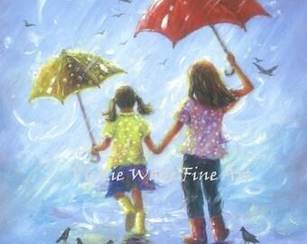 Rain Sisters Art Print, two sisters girls room wall art two girls, brunette sisters, childrens art, blue, two rain girls, Vickie Wade Art