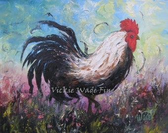 ROOSTER Original Oil Painting 11X14 rooster paintings, chicken paintings, kitchen decor, wall art, rooster decor, Vickie Wade paintings