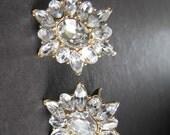 Vintage MONET Rhinestone Earrings Crystal Clipons Clip on