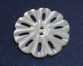 Beautiful Antique Carved Shell Button 28mm Lacey Flower for your embellishment or Collection
