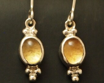 Sterling Silver and Citrine Dangle Earrings